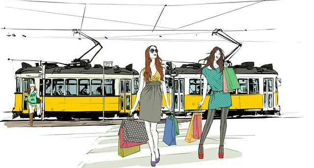 dívky u tramvaje